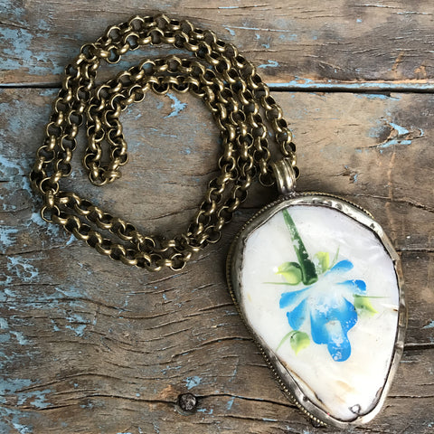 Circa 1900 Hand Painted Blue Flower on Mother of Pearl Medallion on Brass Chain by Sage Machado
