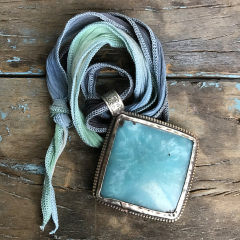 Amazonite Medallion on Sky Ombre Ribbon by Sage Machado