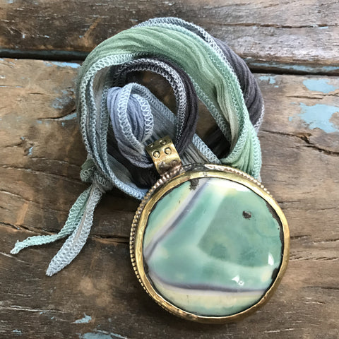 Picture Jasper Medallion with Lotus on Back on Sky Ombre Ribbon by Sage Machado