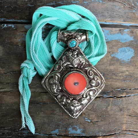 Vintage Coral and Turquoise Medallion on Turquoise Ribbon by Sage Machado