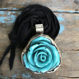 Blue Bakelite Rose Medallion with Hummingbird on Back on Black Ribbon by Sage Machado