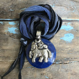 Lapis Medallion with Horse and Kangaroo on Lapis Ombre Ribbon by Sage Machado