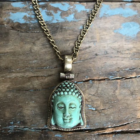Turquoise Peking Glass Buddah Medallion on Brass Chain by Sage Machado