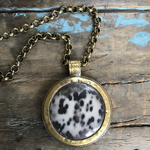 Dalmatian Jasper Medallion on Brass Chain by Sage Machado