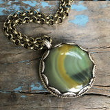 Army Green Banded Agate Medallion on Brass Chain by Sage Machado