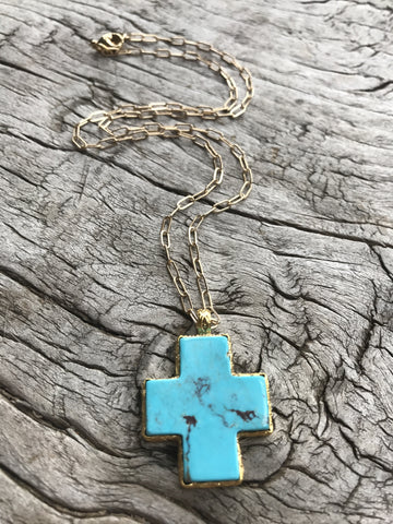 TURQUOISE LOTUS CROSS NECKLACE BY SAGE MACHADO, ARIZONA TURQUOISE CROSS AND GOLD NECKLACE