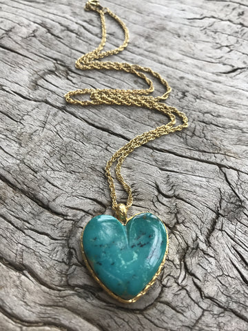 TEAL TURQUOISE LOTUS HEART NECKLACE BY SAGE MACHADO, ARIZONA TURQUOISE HEART AND GOLD NECKLACE