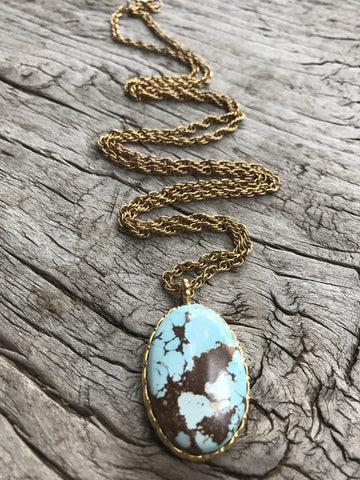 SKY BLUE TURQUOISE LOTUS NECKLACE BY SAGE MACHADO, ARIZONA POWDER BLUE TURQUOISE GOLD NECKLACE