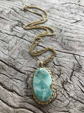 OVAL GREEN TURQUOISE LOTUS NECKLACE BY SAGE MACHADO, ARIZONA GREEN TURQUOISE GOLD NECKLACE