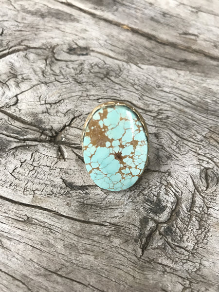 OVAL SKY BLUE TURQUOISE RING BY SAGE MACHADO, ARIZONA TURQUOISE ONE OF A KIND GOLD RING - The Sage Lifestyle