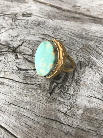 OVAL SKY BLUE TURQUOISE RING BY SAGE MACHADO, ARIZONA TURQUOISE ONE OF A KIND GOLD RING
