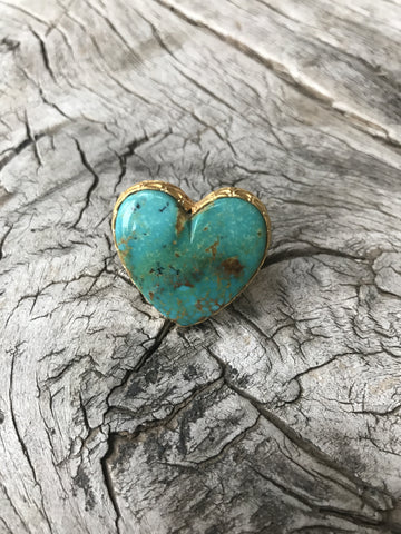 GREEN TURQUOISE HEART RING BY SAGE MACHADO, ARIZONA TURQUOISE ONE OF A KIND GOLD HEART RING
