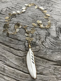 HAND CARVED BONE FEATHER NECKLACE BY SAGE MACHADO,  ONE OF A KIND BONE FEATHER ON GOLD LEAVES CHAIN