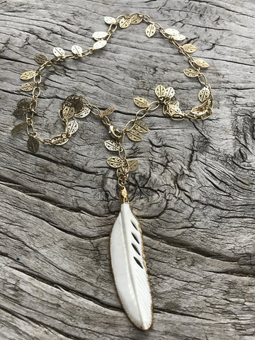 HAND CARVED BONE FEATHER NECKLACE BY SAGE MACHADO,  ONE OF A KIND BONE FEATHER ON GOLD LEAVES CHAIN - The Sage Lifestyle