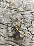 BLACK DRUZY STAR CHARM ON GOLD CHAIN BY SAGE MACHADO,  DRUZY STAR ON GOLD CHAIN