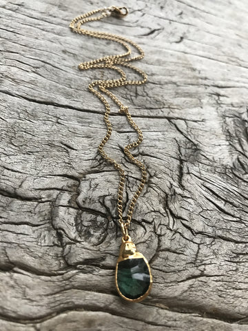 Emerald Green Hydro Quartz Necklace by Sage Machado, Gold Green Quartz One Of a Kind Necklace - The Sage Lifestyle
