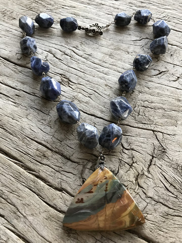 Jasper Triangle Medallion on Sodalite Nuggets by Sage Machado, Jasper and Sodalite One of a Kind Necklace