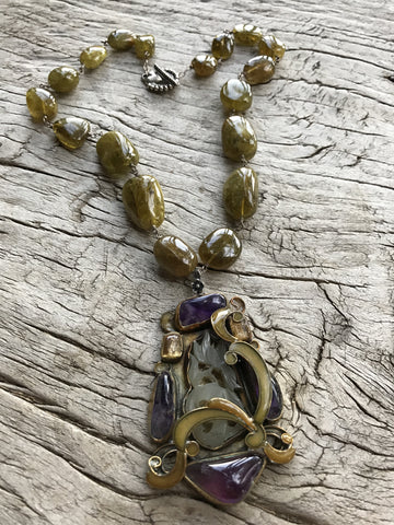 "Circa 1980 ""Vega"" Medallion with African Amethyst, Brown Tourmaline and Hand Carved Vintage (Circa 1930) Jade set in Sterling Silver with Enamel, on Brown Tourmaline Nuggets by Sage Machado , Vintage VEGA Necklace - The Sage Lifestyle"