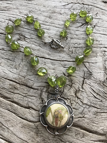 Circa 1940 Sterling Silver Scrimshaw Bone Botanical Medallion on Faceted Peridot Nuggets by Sage Machado, One of a kind Vintage Botanical Necklace