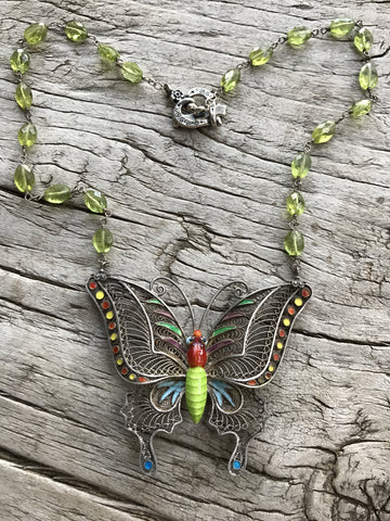 Circa 1960 Sterling Silver Hand-made Filagree Enamel Butterfly on Peridot by Sage Machado, Vintage Filigree Butterfly One of a kind Necklace