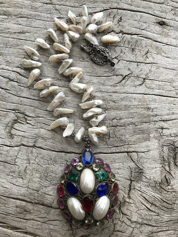 "Circa 1940 ""HOBE"" Handmade Sterling Silver Filigree Medallion with Shell and Austrian Crystals on Japanese Keshi Pearls by Sage Machado, Vintage HOBE One of a Kind Necklace - The Sage Lifestyle"