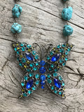 Circa 1960 Austrian Crystal Butterfly Medallion on Spider Web Arizona Turquoise by Sage Machado, Vintage Blue Butterfly Necklace - The Sage Lifestyle
