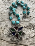 Circa 1960 Sterling Silver and Glass Gypsy Medallion from Afghanistan on Spiderweb Arizona Turquoise Nuggets by Sage Machado, Vintage Afghani Tribal One of a Kind Necklace