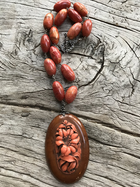 Circa 1930 Celluloid Botanical on Wood Medallion on Apple Coral by Sage Machado, Vintage Wood and Celluloid One of a Kind Necklace - The Sage Lifestyle