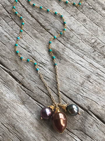 Bronze Fresh Water Pearl And Green Turquoise Necklace By Sage Machado, Bronze Pearl And Green Turquoise Gold Necklace