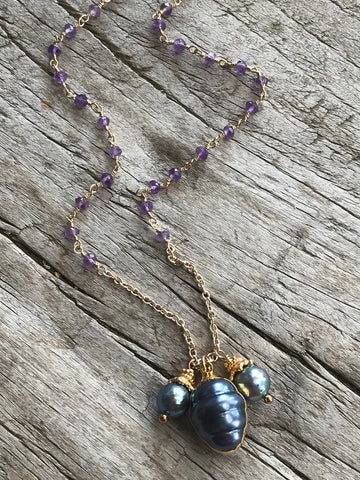 Black Fresh Water Pearl And Amethyst Necklace By Sage Machado, Black Pearl And Amethyst Gold Necklace