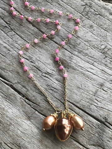 Bronze Fresh Water Pearl And Pink Quartz Necklace By Sage Machado, Bronze Pearl And Pink Quartz Gold Necklace