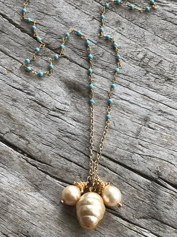 CREAM FRESH WATER PEARL AND TURQUOISE NECKLACE BY SAGE MACHADO, CREAM PEARL AND TURQUOISE GOLD NECKLACE