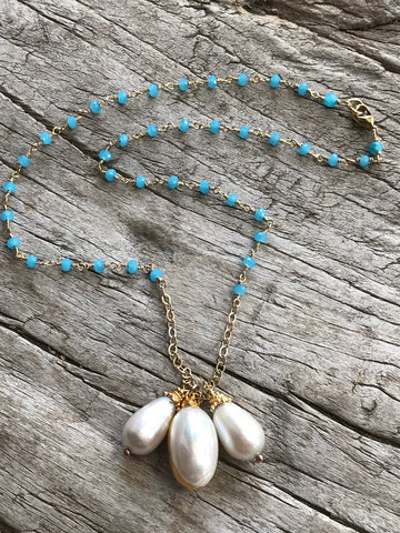 WHITE FRESH WATER PEARL AND BLUE TOPAZ NECKLACE BY SAGE MACHADO, WHITE PEARL AND BLUE TOPAZ GOLD NECKLACE