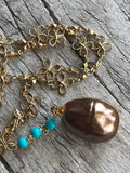 Bronze Freshwater Pearl and Turquoise Drop Necklace on Gold Flower Chain by Sage Machado, Bronze Freshwater Pearl Gold Necklace - The Sage Lifestyle