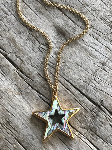 Abalone Star Necklace on Gold Chain by Sage Machado, Abalone Star Gold Necklace - The Sage Lifestyle