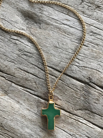 Adventurine Gold Cross Necklace by Sage Machado, Adventurine Gold Cross Necklace - The Sage Lifestyle