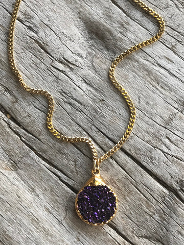 Black Amethyst Druzy Charm Necklace on Gold Chain by Sage Machado, Black Amethyst Druzy Gold Necklace