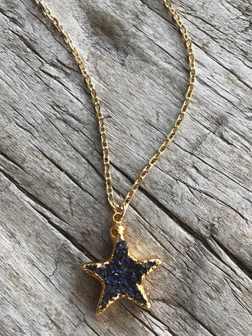 Black Amethyst Druzy Star Necklace on Gold Chain by Sage Machado, Black Amethyst Druzy Gold Necklace - The Sage Lifestyle