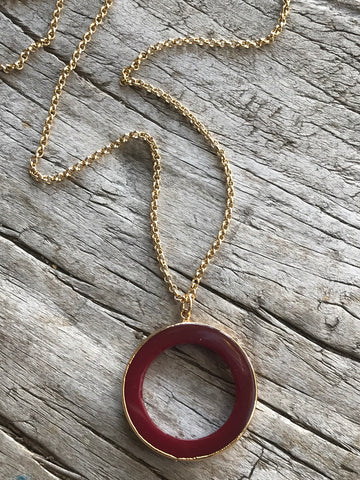 Carnelian Karma Circle Drop Necklace on Gold Chain by Sage Machado, Carnelian Karma Circle Gold Necklace - The Sage Lifestyle