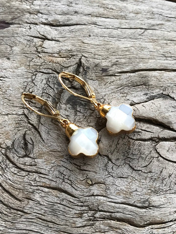 Mother of Pearl Flower Earrings by Sage Machado, Mother of Pearl Flower Earrings