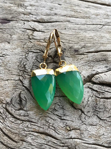 Chrysoprase Spike Earrings by Sage Machado, Chrysoprase Spike Earrings