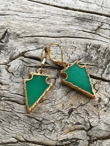 Chrysoprase Arrowhead Earrings by Sage Machado, Chrysoprase Arrowhead Earrings - The Sage Lifestyle