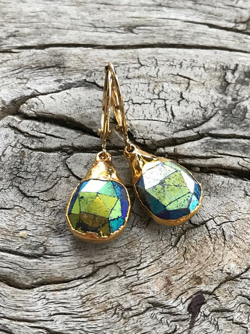 Mystic Labradorite Earrings by Sage Machado, Mystic Labradorite Earrings