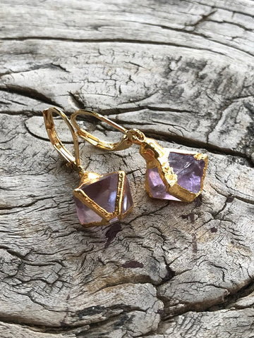 Lavender Fluorite Earrings by Sage Machado, Lavender Fluorite Earrings
