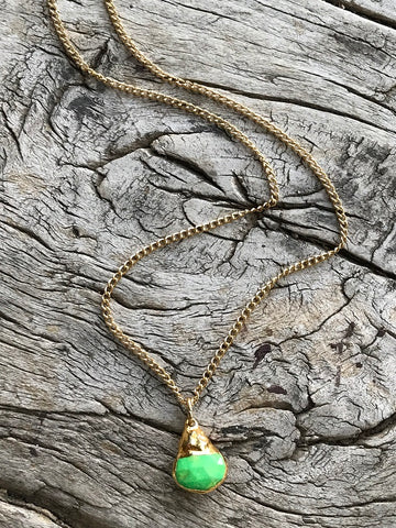 Gaspeite Charm Gold Necklace By Sage Machado, Gaspeite Charm Gold Necklace