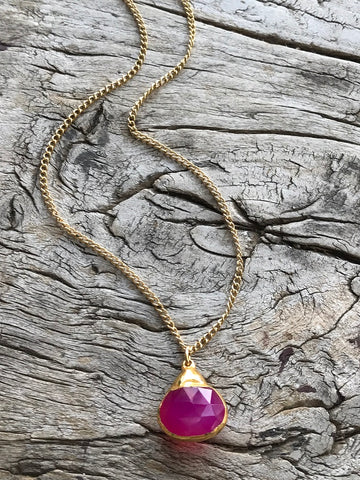 Pink Onyx Charm Gold Necklace By Sage Machado, Pink Onyx Charm Gold Necklace