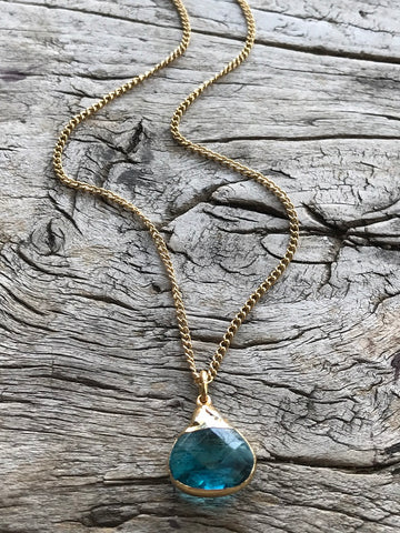 Blue Topaz Charm Gold Necklace By Sage Machado, Blue Topaz Charm Gold Necklace