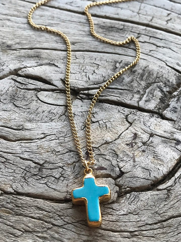 Small Arizona Turquoise Cross Charm Gold Necklace By Sage Machado, Small Arizona Turquoise Charm Gold Necklace