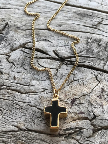 Small Black Onyx Cross Charm Gold Necklace By Sage Machado, Black Onyx Charm Gold Necklace
