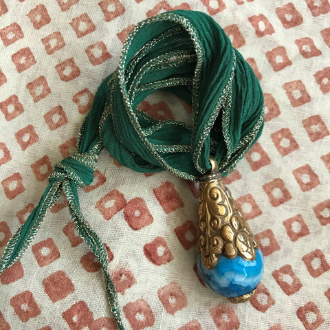 Turquoise Quartz Pendant on Green Ribbon by Sage Machado, Blue Quartz Necklace by Sage